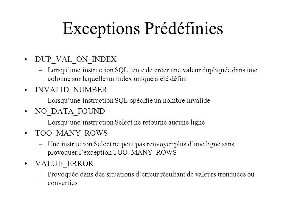 Exceptions Prédéfinies DUP_VAL_ON_INDEX –Lorsqu'une instruction SQL tente de créer une valeur dupliquée dans une colonne sur laquelle un index unique