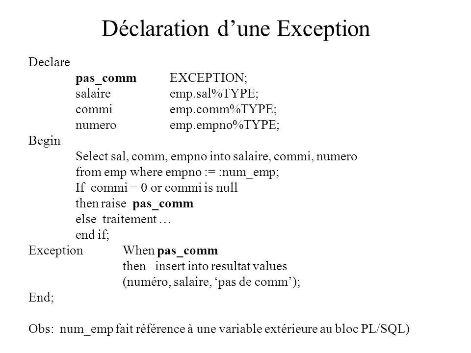 Déclaration d'une Exception Declare pas_commEXCEPTION; salaireemp.sal%TYPE; commiemp.comm%TYPE; numeroemp.empno%TYPE; Begin Select sal, comm, empno in