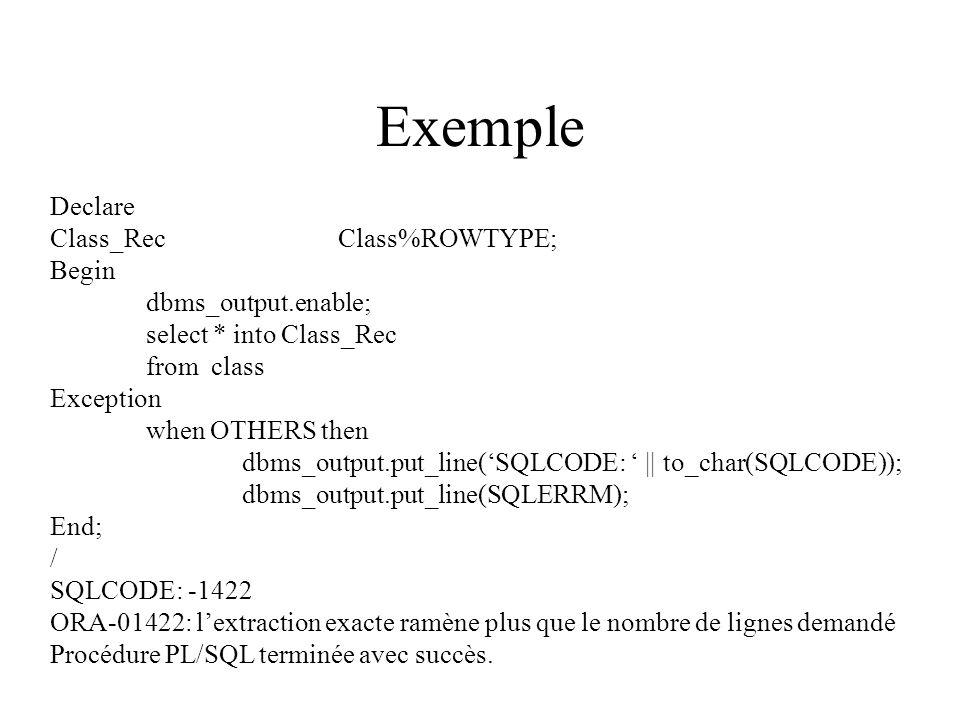 Exemple Declare Class_RecClass%ROWTYPE; Begin dbms_output.enable; select * into Class_Rec from class Exception when OTHERS then dbms_output.put_line('SQLCODE: ' || to_char(SQLCODE)); dbms_output.put_line(SQLERRM); End; / SQLCODE: -1422 ORA-01422: l'extraction exacte ramène plus que le nombre de lignes demandé Procédure PL/SQL terminée avec succès.
