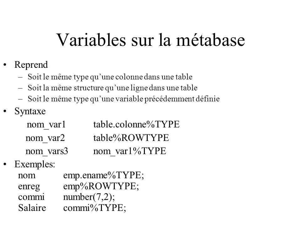 Variables sur la métabase Reprend –Soit le même type qu'une colonne dans une table –Soit la même structure qu'une ligne dans une table –Soit le même t