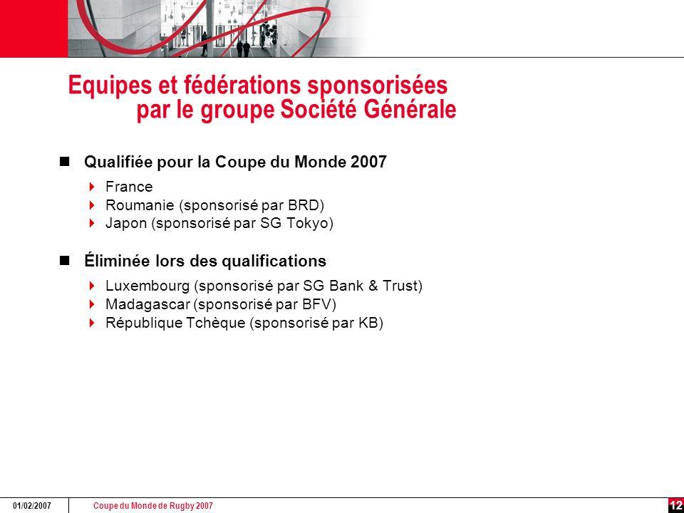 Coupe du Monde de Rugby 2007 01/02/2007 12 Equipes et fédérations sponsorisées par le groupe Société Générale Qualifiée pour la Coupe du Monde 2007 