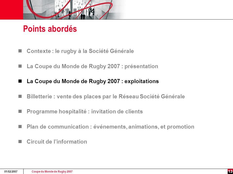 Coupe du Monde de Rugby 2007 01/02/2007 13 Points abordés Contexte : le rugby à la Société Générale La Coupe du Monde de Rugby 2007 : présentation La