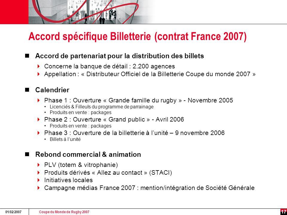Coupe du Monde de Rugby 2007 01/02/2007 17 Accord spécifique Billetterie (contrat France 2007) Accord de partenariat pour la distribution des billets  Concerne la banque de détail : 2.200 agences  Appellation : « Distributeur Officiel de la Billetterie Coupe du monde 2007 » Calendrier  Phase 1 : Ouverture « Grande famille du rugby » - Novembre 2005 Licenciés & Filleuls du programme de parrainage Produits en vente : packages  Phase 2 : Ouverture « Grand public » - Avril 2006 Produits en vente : packages  Phase 3 : Ouverture de la billetterie à l'unité – 9 novembre 2006 Billets à l'unité Rebond commercial & animation  PLV (totem & vitrophanie)  Produits dérivés « Allez au contact » (STACI)  Initiatives locales  Campagne médias France 2007 : mention/intégration de Société Générale
