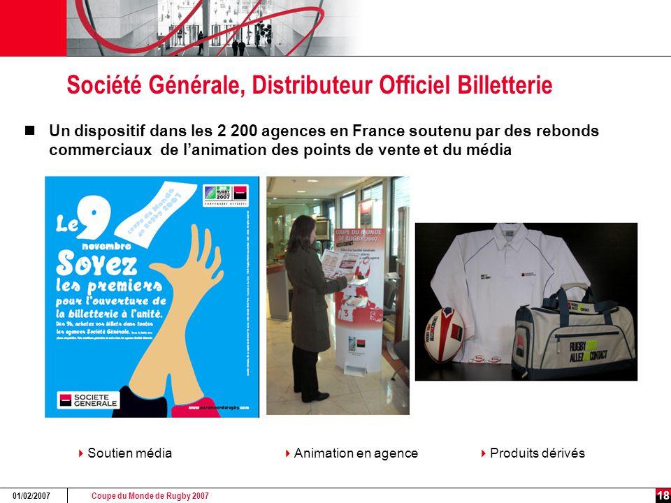 Coupe du Monde de Rugby 2007 01/02/2007 18 Société Générale, Distributeur Officiel Billetterie Un dispositif dans les 2 200 agences en France soutenu par des rebonds commerciaux de l'animation des points de vente et du média  Animation en agence  Soutien média  Produits dérivés