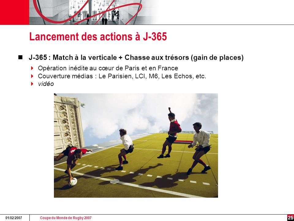 Coupe du Monde de Rugby 2007 01/02/2007 25 Lancement des actions à J-365 J-365 : Match à la verticale + Chasse aux trésors (gain de places)  Opération inédite au cœur de Paris et en France  Couverture médias : Le Parisien, LCI, M6, Les Echos, etc.