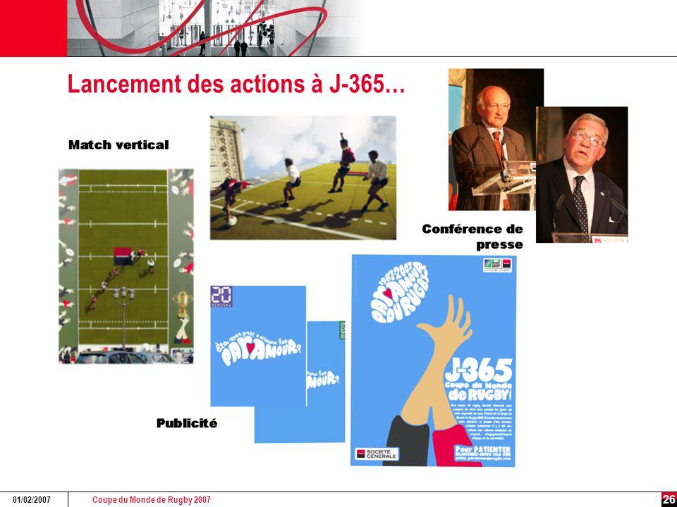 Coupe du Monde de Rugby 2007 01/02/2007 26 Lancement des actions à J-365…