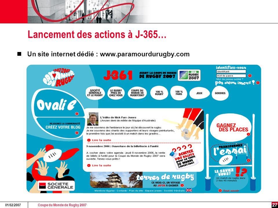 Coupe du Monde de Rugby 2007 01/02/2007 27 Lancement des actions à J-365… Un site internet dédié : www.paramourdurugby.com