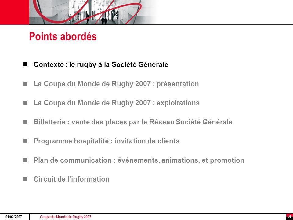 Coupe du Monde de Rugby 2007 01/02/2007 3 Points abordés Contexte : le rugby à la Société Générale La Coupe du Monde de Rugby 2007 : présentation La C