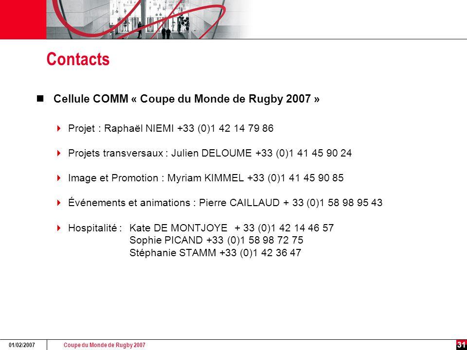 Coupe du Monde de Rugby 2007 01/02/2007 31 Contacts Cellule COMM « Coupe du Monde de Rugby 2007 »  Projet : Raphaël NIEMI +33 (0)1 42 14 79 86  Projets transversaux : Julien DELOUME +33 (0)1 41 45 90 24  Image et Promotion : Myriam KIMMEL +33 (0)1 41 45 90 85  Événements et animations : Pierre CAILLAUD + 33 (0)1 58 98 95 43  Hospitalité : Kate DE MONTJOYE + 33 (0)1 42 14 46 57 Sophie PICAND +33 (0)1 58 98 72 75 Stéphanie STAMM +33 (0)1 42 36 47