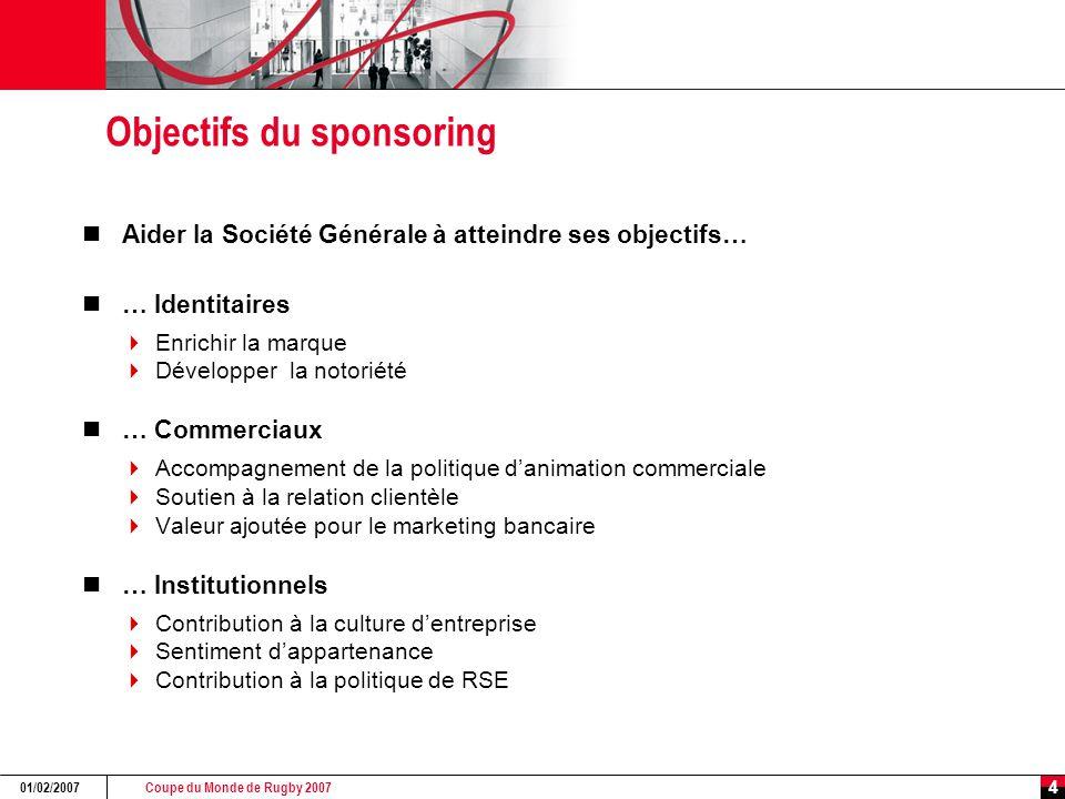 Coupe du Monde de Rugby 2007 01/02/2007 4 Objectifs du sponsoring Aider la Société Générale à atteindre ses objectifs… … Identitaires  Enrichir la ma