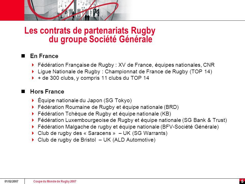 Coupe du Monde de Rugby 2007 01/02/2007 5 Les contrats de partenariats Rugby du groupe Société Générale En France  Fédération Française de Rugby : XV
