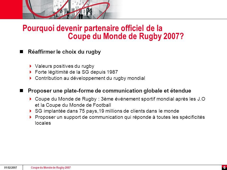 Coupe du Monde de Rugby 2007 01/02/2007 6 Pourquoi devenir partenaire officiel de la Coupe du Monde de Rugby 2007? Réaffirmer le choix du rugby  Vale