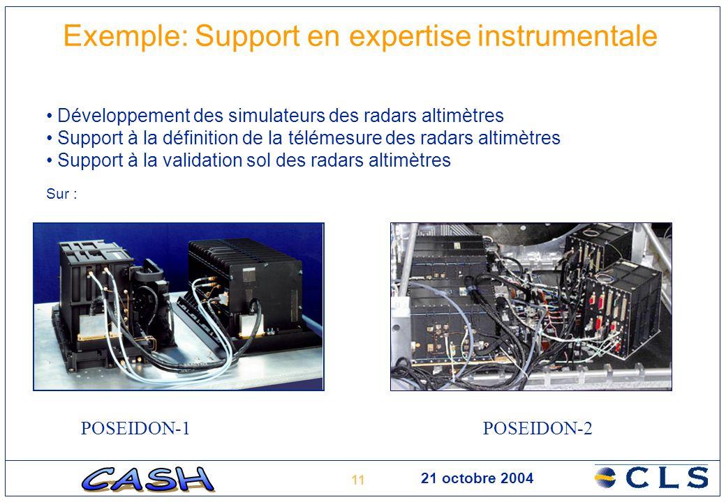 11 21 octobre 2004 Exemple: Support en expertise instrumentale POSEIDON-1POSEIDON-2 Développement des simulateurs des radars altimètres Support à la d