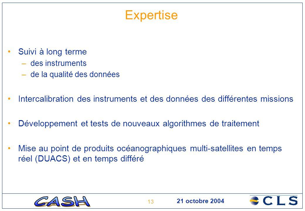 13 21 octobre 2004 Expertise Suivi à long terme –des instruments –de la qualité des données Intercalibration des instruments et des données des différ