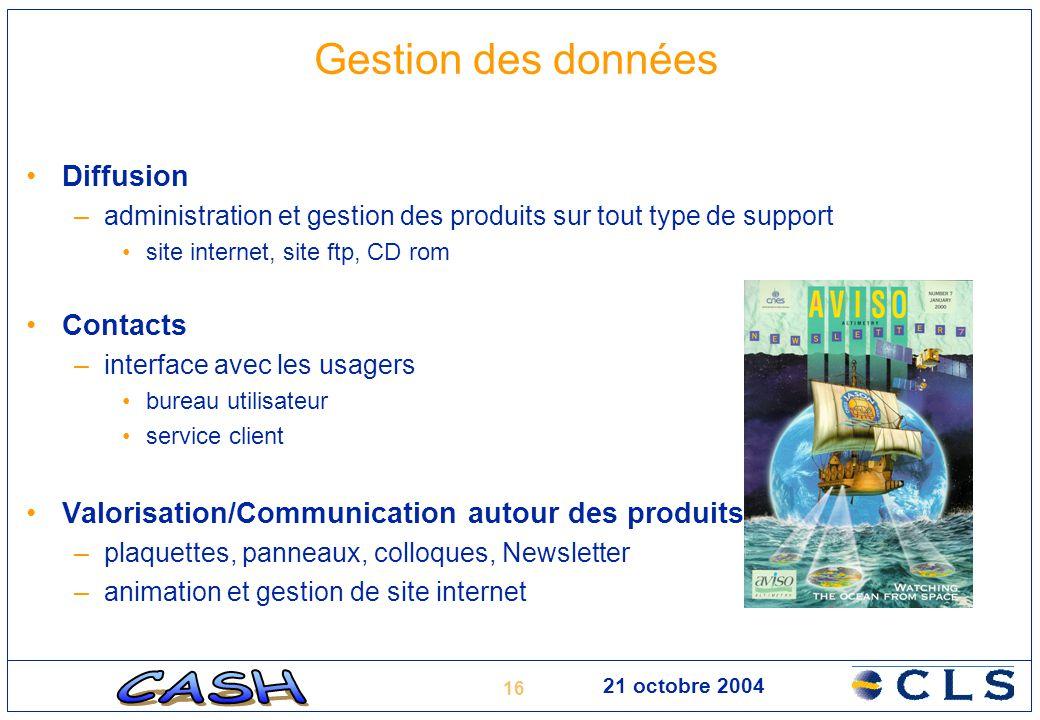 16 21 octobre 2004 Gestion des données Diffusion –administration et gestion des produits sur tout type de support site internet, site ftp, CD rom Cont