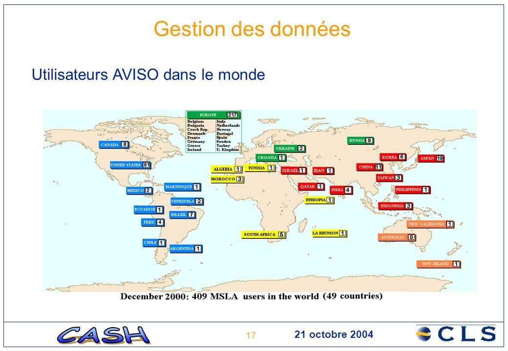 17 21 octobre 2004 Gestion des données Utilisateurs AVISO dans le monde