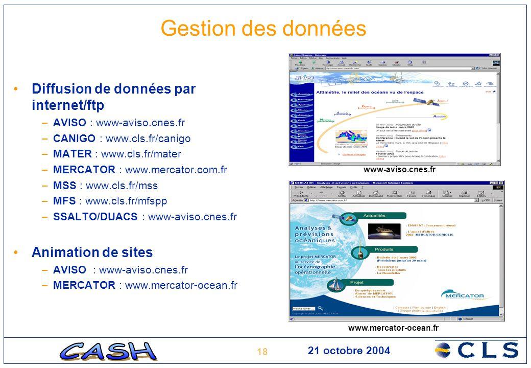18 21 octobre 2004 Gestion des données Diffusion de données par internet/ftp –AVISO : www-aviso.cnes.fr –CANIGO : www.cls.fr/canigo –MATER : www.cls.f