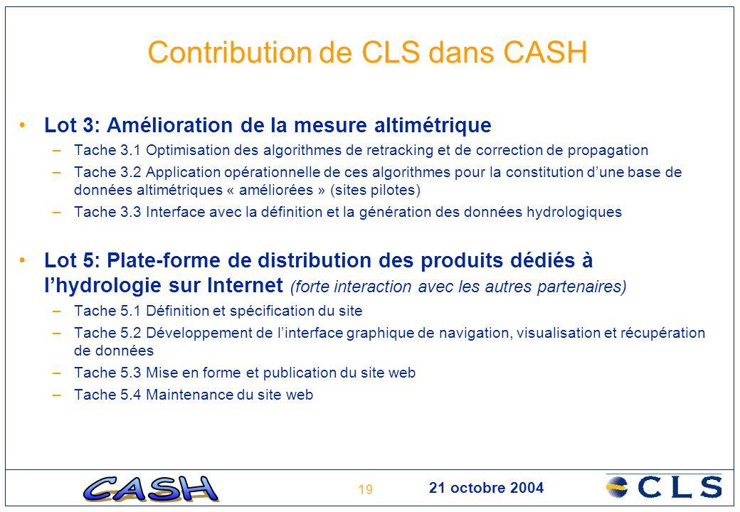 19 21 octobre 2004 Contribution de CLS dans CASH Lot 3: Amélioration de la mesure altimétrique –Tache 3.1 Optimisation des algorithmes de retracking e