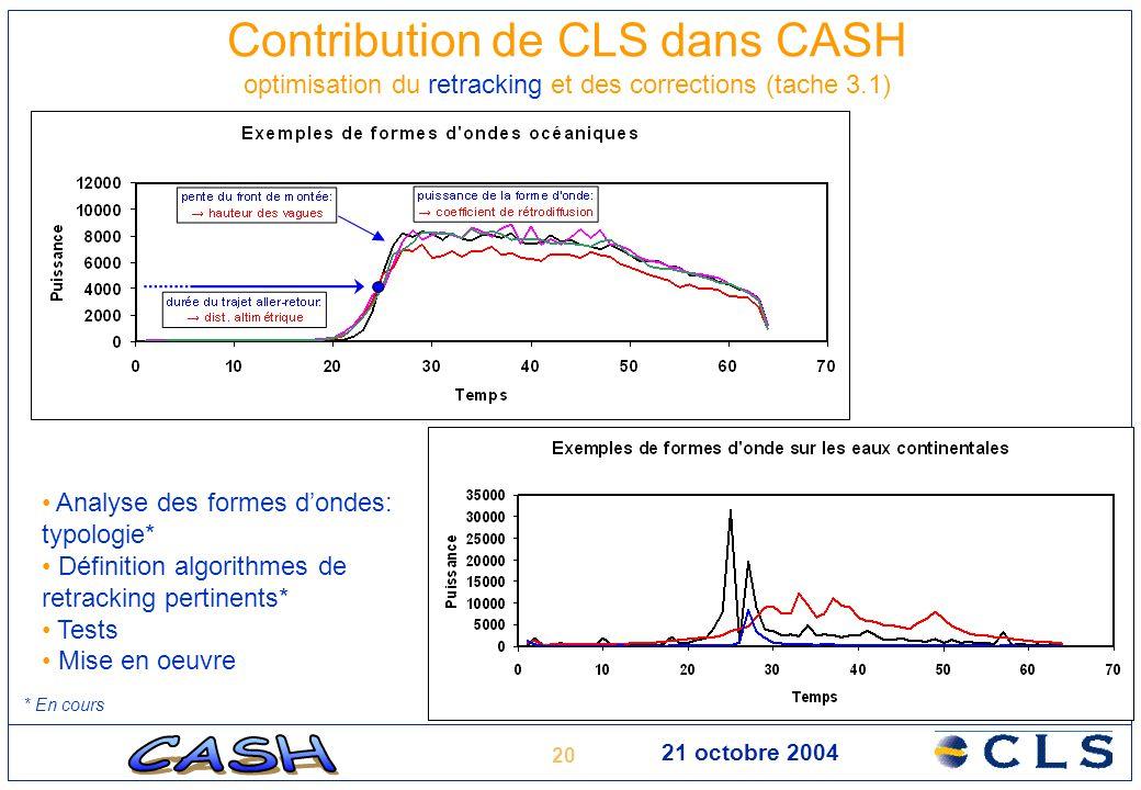 20 21 octobre 2004 Contribution de CLS dans CASH optimisation du retracking et des corrections (tache 3.1) Analyse des formes d'ondes: typologie* Défi