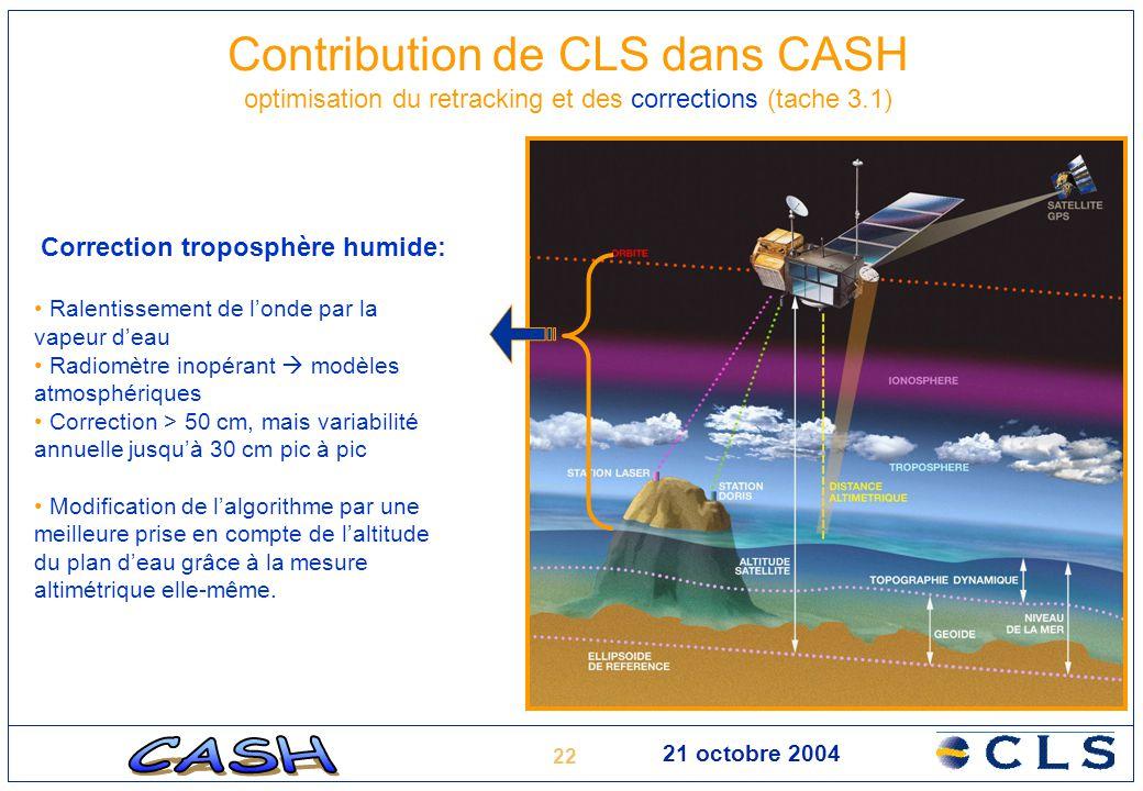 22 21 octobre 2004 Contribution de CLS dans CASH optimisation du retracking et des corrections (tache 3.1) Correction troposphère humide: Ralentisseme