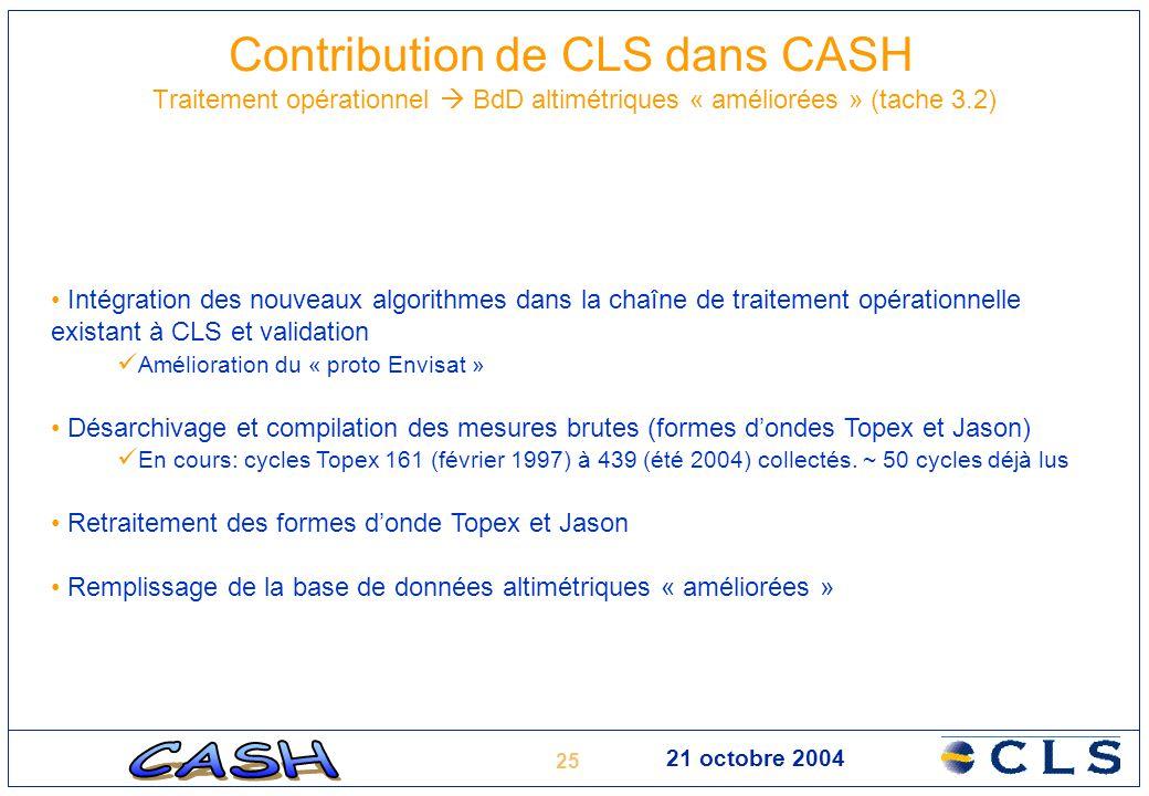 25 21 octobre 2004 Contribution de CLS dans CASH Traitement opérationnel  BdD altimétriques « améliorées » (tache 3.2) Intégration des nouveaux algor