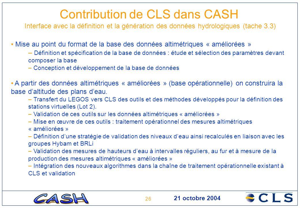 26 21 octobre 2004 Contribution de CLS dans CASH Interface avec la définition et la génération des données hydrologiques (tache 3.3) Mise au point du