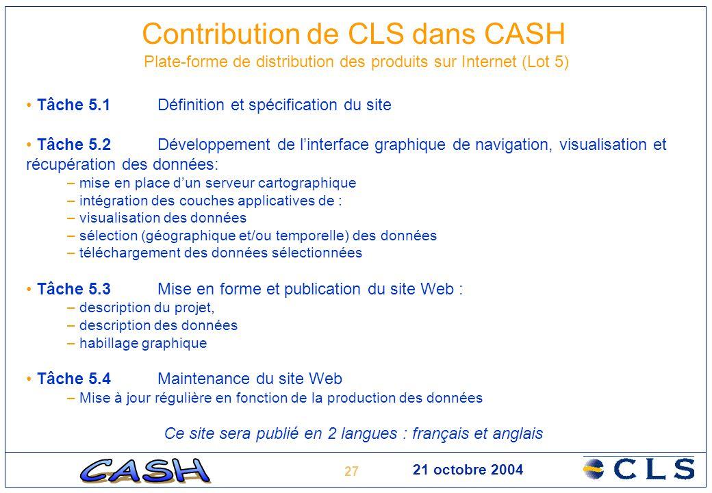 27 21 octobre 2004 Contribution de CLS dans CASH Plate-forme de distribution des produits sur Internet (Lot 5) Tâche 5.1Définition et spécification du
