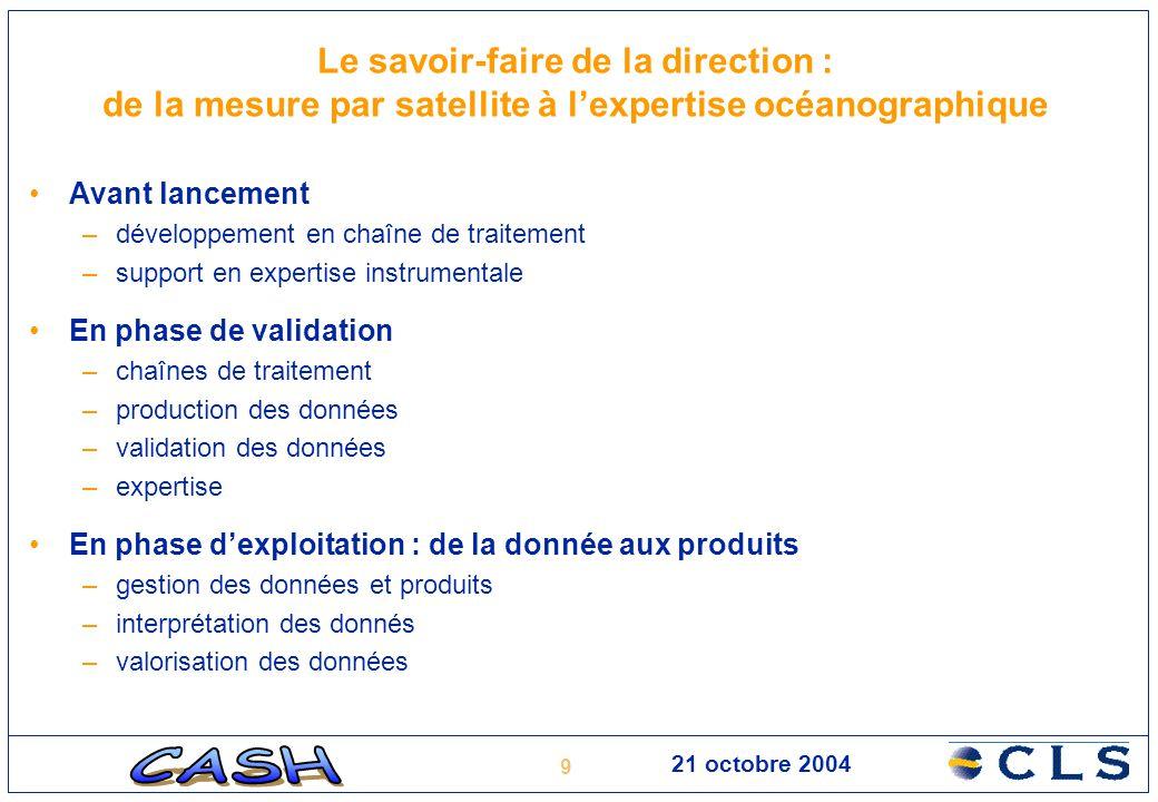 9 21 octobre 2004 Le savoir-faire de la direction : de la mesure par satellite à l'expertise océanographique Avant lancement –développement en chaîne