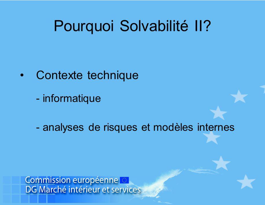 Pourquoi Solvabilité II? Contexte technique - informatique - analyses de risques et modèles internes