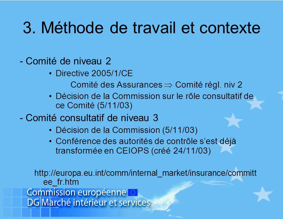 - Comité de niveau 2 Directive 2005/1/CE Comité des Assurances  Comité régl. niv 2 Décision de la Commission sur le rôle consultatif de ce Comité (5/
