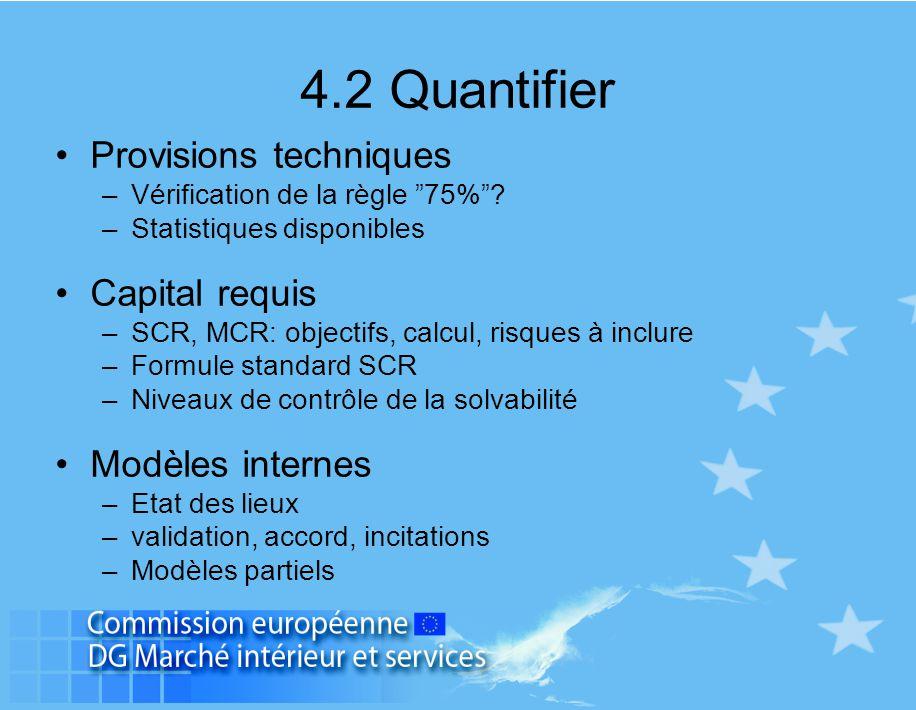 """4.2 Quantifier Provisions techniques –Vérification de la règle """"75%""""? –Statistiques disponibles Capital requis –SCR, MCR: objectifs, calcul, risques à"""