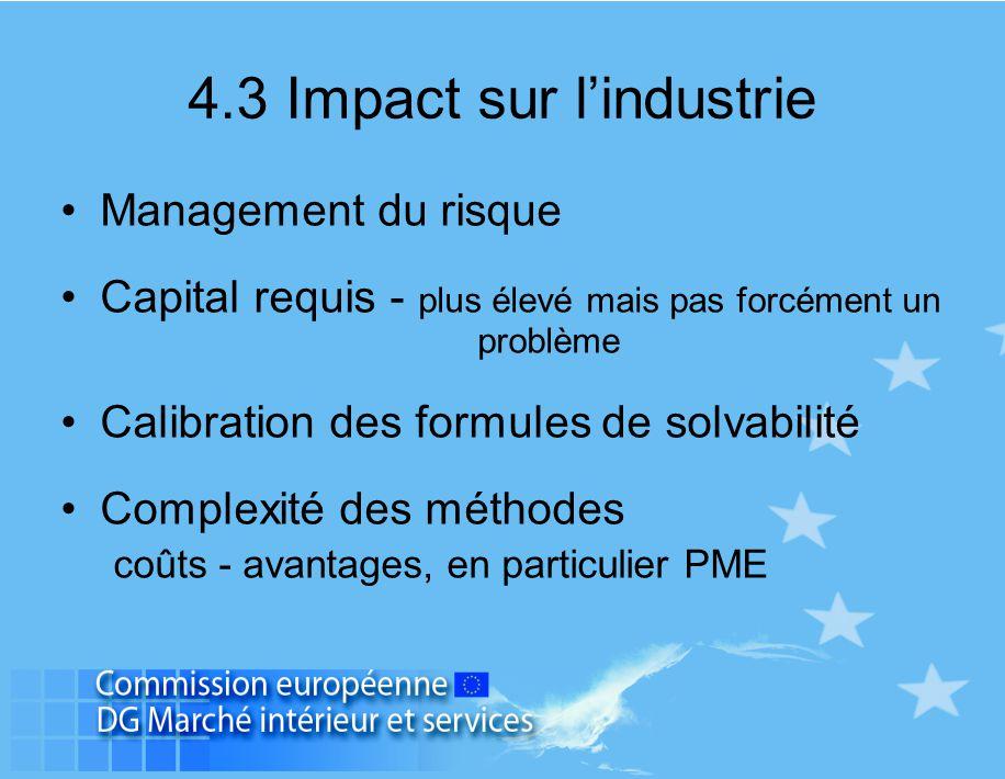 4.3 Impact sur l'industrie Management du risque Capital requis - plus élevé mais pas forcément un problème Calibration des formules de solvabilité Com