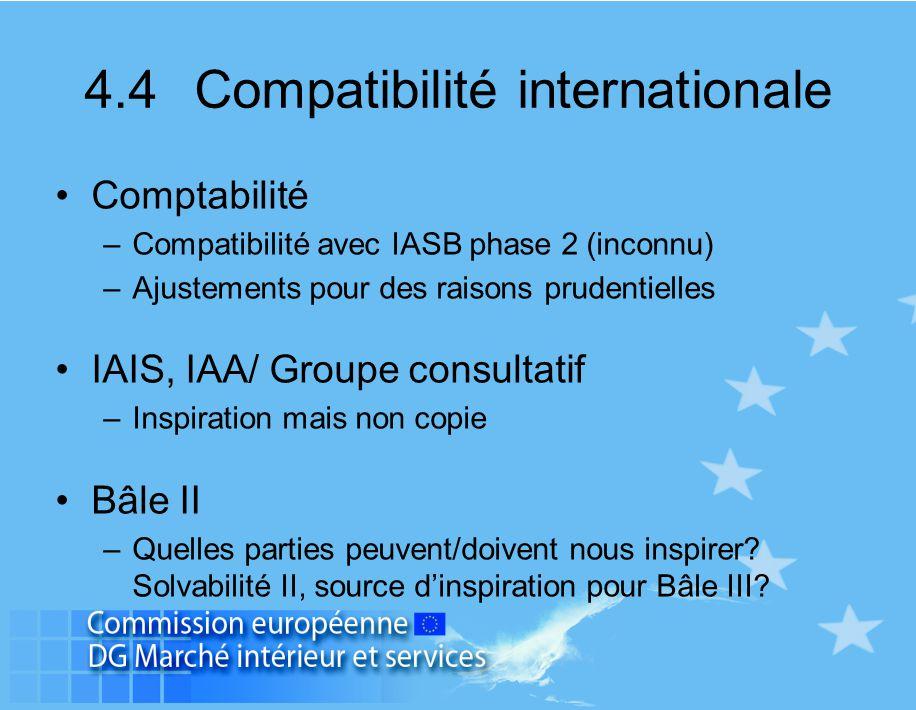 4.4 Compatibilité internationale Comptabilité –Compatibilité avec IASB phase 2 (inconnu) –Ajustements pour des raisons prudentielles IAIS, IAA/ Groupe