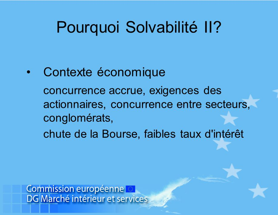 Pourquoi Solvabilité II? Contexte économique concurrence accrue, exigences des actionnaires, concurrence entre secteurs, conglomérats, chute de la Bou