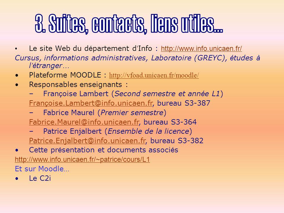 Le site Web du d é partement d ' Info : http://www.info.unicaen.fr/ http://www.info.unicaen.fr/ Cursus, informations administratives, Laboratoire (GREYC), é tudes à l 'é tranger … Plateforme MOODLE : http://vfoad.unicaen.fr/moodle/ http://vfoad.unicaen.fr/moodle/ Responsables enseignants : –Fran ç oise Lambert (Second semestre et ann é e L1) Fran ç oise.Lambert@info.unicaen.frFran ç oise.Lambert@info.unicaen.fr, bureau S3-387 –Fabrice Maurel (Premier semestre) Fabrice.Maurel@info.unicaen.frFabrice.Maurel@info.unicaen.fr, bureau S3-364 –Patrice Enjalbert (Ensemble de la licence) Patrice.Enjalbert@info.unicaen.frPatrice.Enjalbert@info.unicaen.fr, bureau S3-382 Cette pr é sentation et documents associ é s http://www.info.unicaen.fr/~patrice/cours/L1 Et sur Moodle… Le C2i