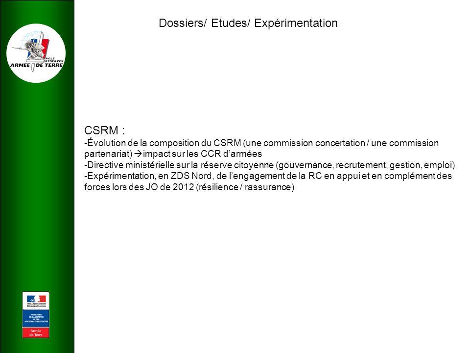 Dossiers/ Etudes/ Expérimentation CSRM : -Évolution de la composition du CSRM (une commission concertation / une commission partenariat)  impact sur les CCR d'armées -Directive ministérielle sur la réserve citoyenne (gouvernance, recrutement, gestion, emploi) -Expérimentation, en ZDS Nord, de l'engagement de la RC en appui et en complément des forces lors des JO de 2012 (résilience / rassurance)