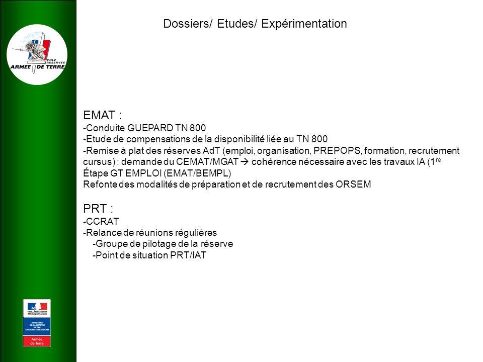 Dossiers/ Etudes/ Expérimentation EMAT : -Conduite GUEPARD TN 800 -Etude de compensations de la disponibilité liée au TN 800 -Remise à plat des réserves AdT (emploi, organisation, PREPOPS, formation, recrutement cursus) : demande du CEMAT/MGAT  cohérence nécessaire avec les travaux IA (1 re Étape GT EMPLOI (EMAT/BEMPL) Refonte des modalités de préparation et de recrutement des ORSEM PRT : -CCRAT -Relance de réunions régulières -Groupe de pilotage de la réserve -Point de situation PRT/IAT