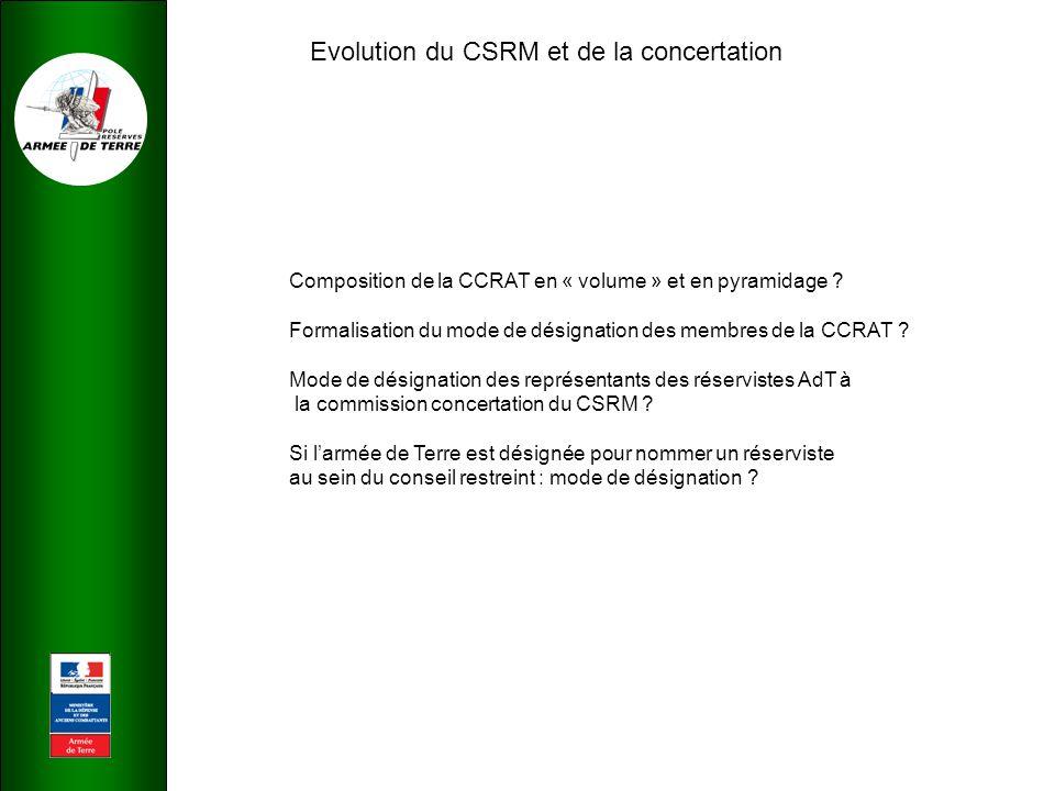 Evolution du CSRM et de la concertation Composition de la CCRAT en « volume » et en pyramidage .