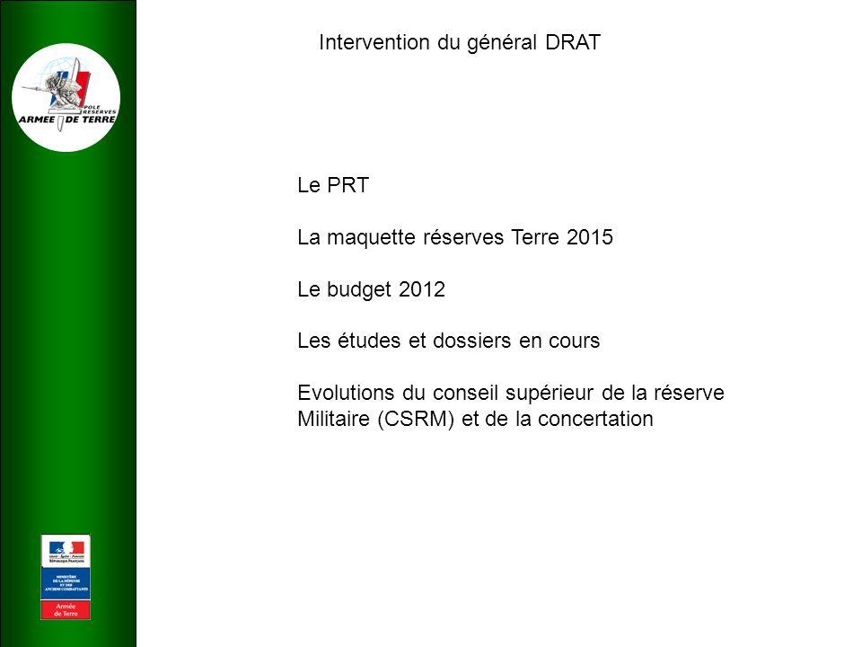 Intervention du général DRAT Le PRT La maquette réserves Terre 2015 Le budget 2012 Les études et dossiers en cours Evolutions du conseil supérieur de la réserve Militaire (CSRM) et de la concertation