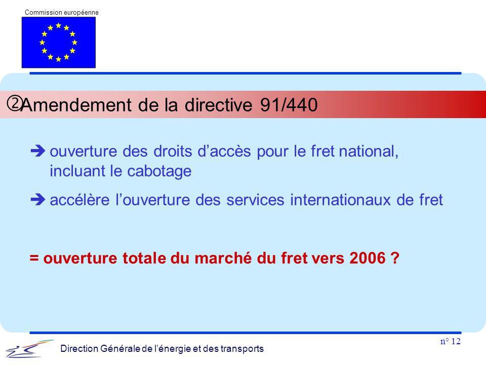 n° 12 Commission européenne Direction Générale de l'énergie et des transports  Amendement de la directive 91/440  ouverture des droits d'accès pour
