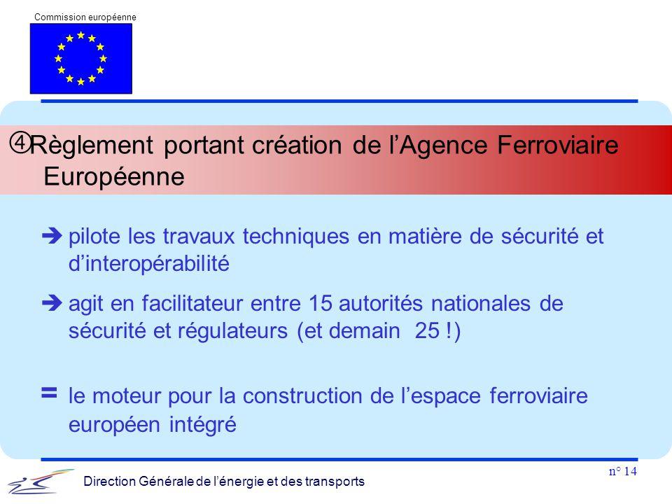 n° 14 Commission européenne Direction Générale de l'énergie et des transports  Règlement portant création de l'Agence Ferroviaire Européenne  pilote