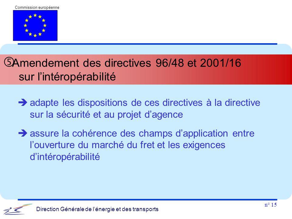 n° 15 Commission européenne Direction Générale de l'énergie et des transports  Amendement des directives 96/48 et 2001/16 sur l'intéropérabilité  ad