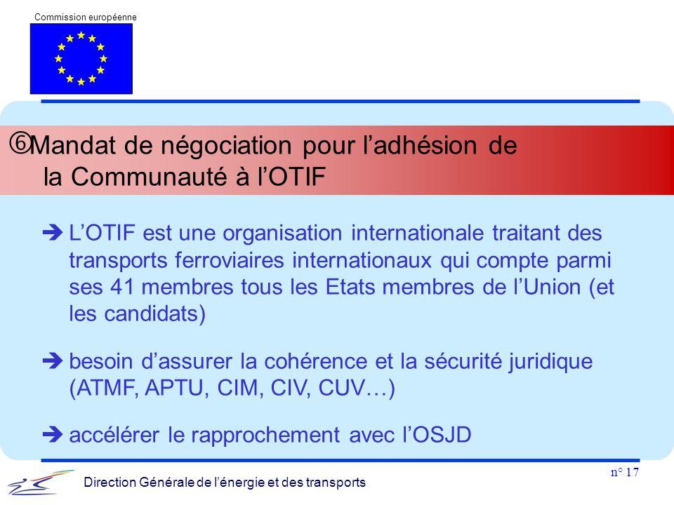 n° 17 Commission européenne Direction Générale de l'énergie et des transports  Mandat de négociation pour l'adhésion de la Communauté à l'OTIF  L'OT