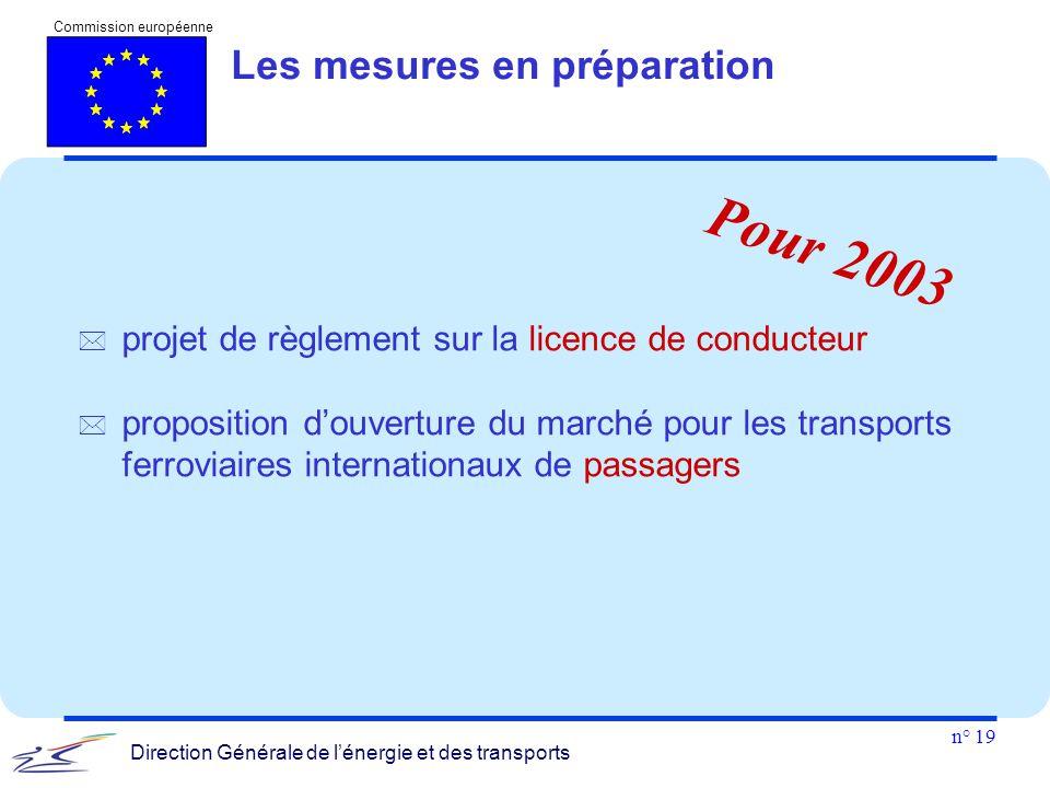 n° 19 Commission européenne Direction Générale de l'énergie et des transports Les mesures en préparation  projet de règlement sur la licence de condu