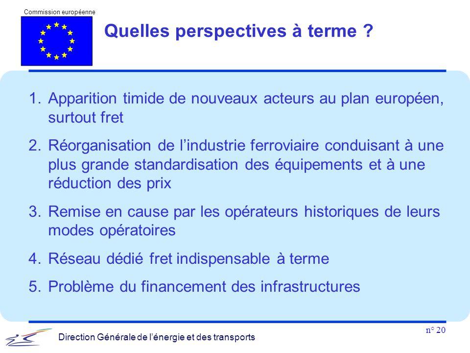 n° 20 Commission européenne Direction Générale de l'énergie et des transports 1.Apparition timide de nouveaux acteurs au plan européen, surtout fret 2