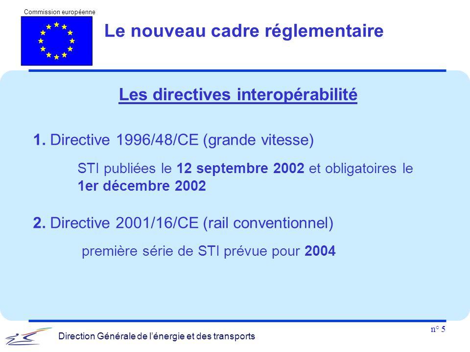 n° 5 Commission européenne Direction Générale de l'énergie et des transports 1. Directive 1996/48/CE (grande vitesse) STI publiées le 12 septembre 200
