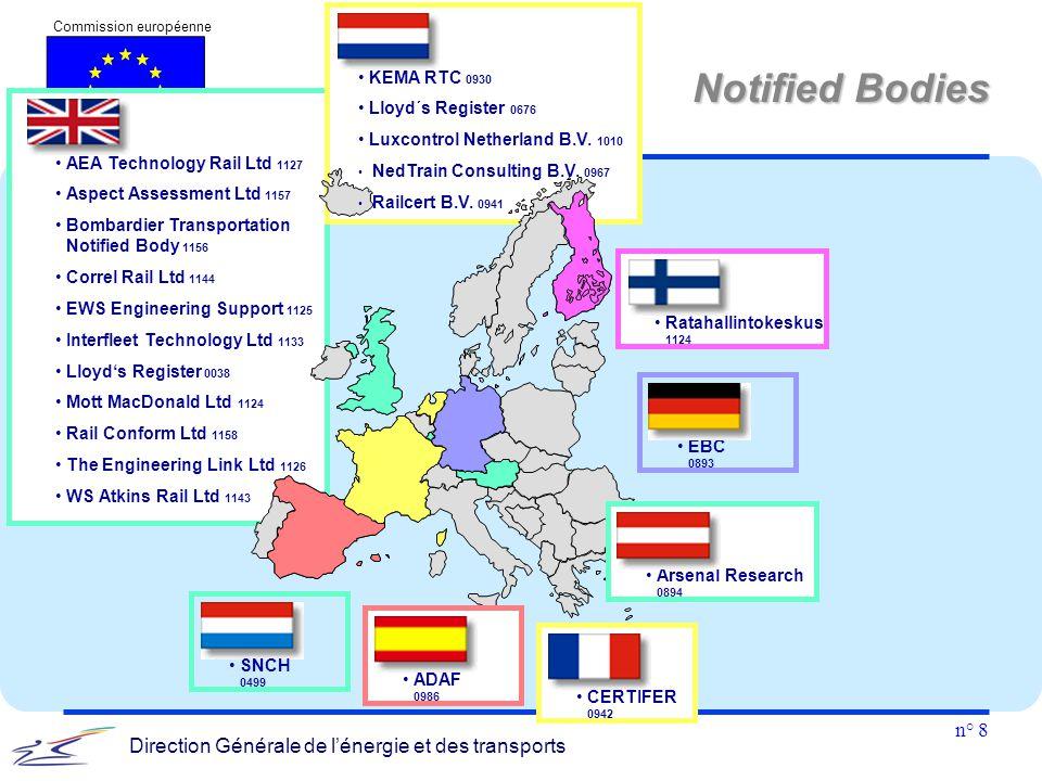 n° 8 Commission européenne Direction Générale de l'énergie et des transports Notified Bodies AEA Technology Rail Ltd 1127 Aspect Assessment Ltd 1157 B