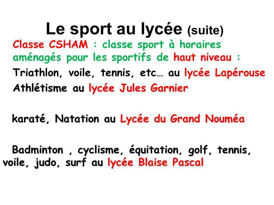 Le sport au lycée (suite) Classe CSHAM : classe sport à horaires aménagés pour les sportifs de haut niveau : Triathlon, voile, tennis, etc… au lycée L