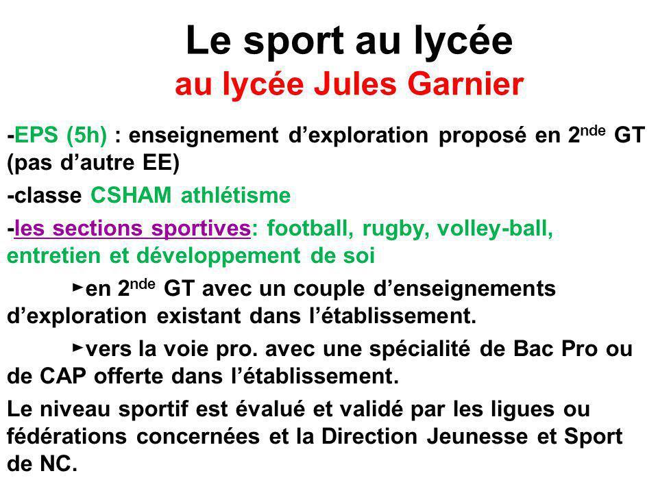Le sport au lycée au lycée Jules Garnier -EPS (5h) : enseignement d'exploration proposé en 2 nde GT (pas d'autre EE) -classe CSHAM athlétisme -les sec