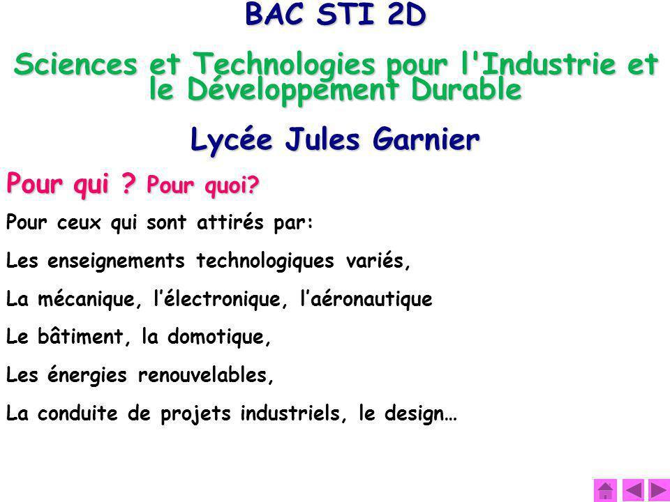 BAC STI 2D Sciences et Technologies pour l'Industrie et le Développement Durable Lycée Jules Garnier Pour qui ? Pour quoi? Pour ceux qui sont attirés